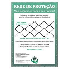 Rede de Proteção em Poliéster Protec 160cm com 10 Metros Preta - Protej