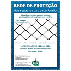 Rede de Proteção em Poliéster Protec 160cm com 3,5 Metros Preta - Protej