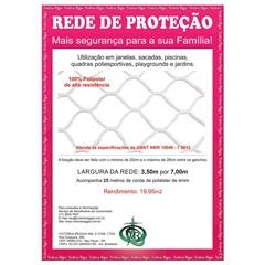 Rede de Proteção em Poliéster Protec 350cm com 7 Metros Branca - Protej