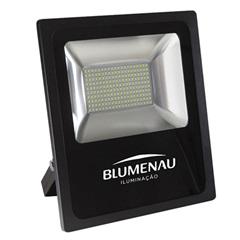 Refletor Led 100w Bivolt 3000k Slim Preto Luz Amarela - Blumenau