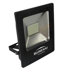Refletor Led 50w Bivolt 3000k Slim Preto Luz Amarela - Blumenau
