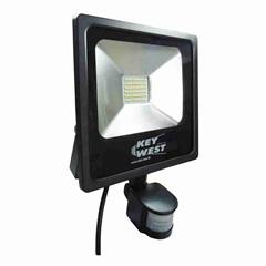 Refletor Led com Sensor de Presença 30w Bivolt 6000k Preto Luz Branca - Key West