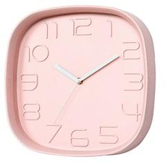 Relógio de Parede Quadrado 28cm Rosa