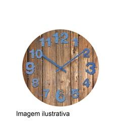 Relógio Parede Grão Madeira Azul 30cm - Importado