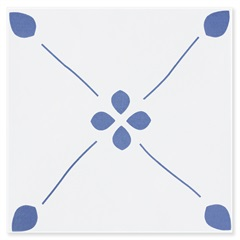 Revestimento Brilhante Borda Bold Fiori Branco E Azul 20x20cm - Pierini