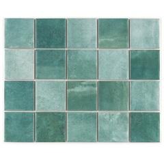 Revestimento Brilhante Borda Reta Noronha Jade Mesh Verde 7,5x7,5cm - Eliane