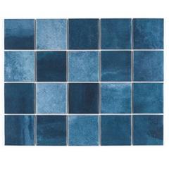 Revestimento Brilhante Borda Reta Noronha Mar Mesh Azul 7,5x7,5cm - Eliane