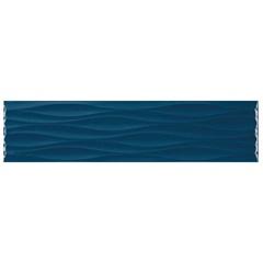 Revestimento Esmaltado Brilhante Borda Bold Krea Ripple Deep Sea Azul Royal 10x40cm - Portobello