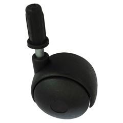 Rodízio Giratório com Pino de Encaixe 30mm Preto