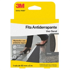 Rolo de Fita Antiderrapante Safety-Walk 50mm com 5 Metros Cinza - 3M