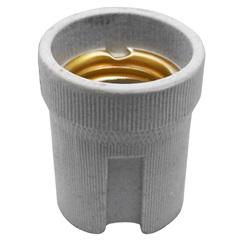 Soquete de Porcelana para Lâmpada E27 com Borne Cinza - Kit-Flex