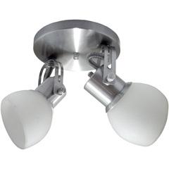 Spot em Alumínio Lixado Branco com Vidro Fosco para 2 Lâmpadas - Spot Line