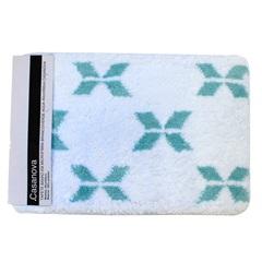 Tapete de Banheiro em Microfibra 40x60cm Branco E Verde Água - Casanova
