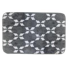 Tapete de Banheiro em Microfibra 40x60cm Cinza E Branco - Casanova