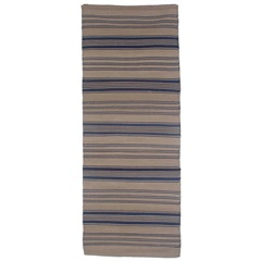 Tapete em Algodão Natural 180x70cm Listras Azul - Casa Etna