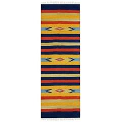 Tapete Indiano em Algodão Kilim Desenho 01 com 140x200cm Colorido - Niazitex