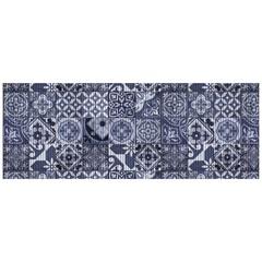 Tapete para Cozinha Tropical Azulejo 43x130cm Azul - Kapazi