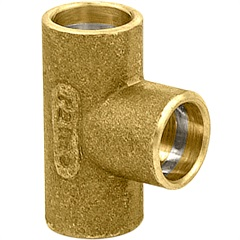 Tê em Latão com Solda 15x15x15mm Dourado - Ramo Conexões