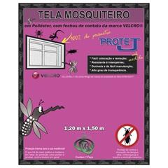 Tela Mosquiteiro com Velcro em Poliéster 1,20x1,50 Metro Cinza - Protej