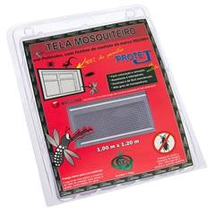 Tela Mosquiteiro com Velcro em Poliéster 1x1,20 Metro Cinza - Protej