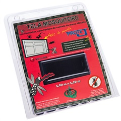 Tela Mosquiteiro com Velcro em Poliéster 1x1,20 Metro Preta - Protej
