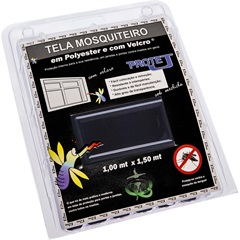 Tela Mosquiteiro em Poliéster Protej com Velcro 100x150cm Preta - VR