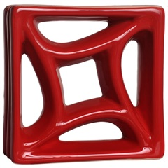 Tijolo Vazado Esmaltado Cobogó Estrela 18,5x18,5x8cm Vermelho - Martins