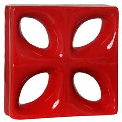 Tijolo Vazado Esmaltado Cobogó Folha 25x25x8cm Vermelho - Cerâmica Martins