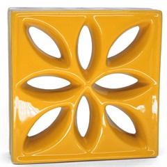 Tijolo Vazado Esmaltado Cobogó Lótus 25,5x25,5x8cm Amarelo - Martins