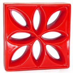Tijolo Vazado Esmaltado Cobogó Lótus 25,5x25,5x8cm Vermelho - Martins