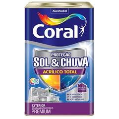 Tinta Acrílica Premium Fosca Proteção Sol & Chuva Branco 18 Litros - Coral