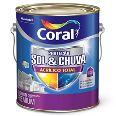Tinta Acrílica Premium Fosca Proteção Sol & Chuva Branco 3,6 Litros - Coral