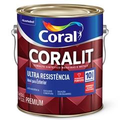 Tinta Esmalte Sintético Premium Brilhante Coralit Tradicional Amarelo 3,6 Litros - Coral