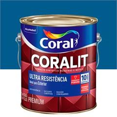 Tinta Esmalte Sintético Premium Brilhante Coralit Tradicional Azul França 3,6 Litros - Coral