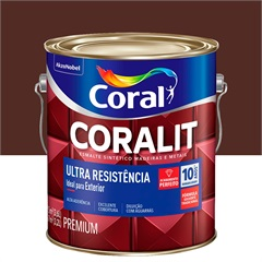 Tinta Esmalte Sintético Premium Brilhante Coralit Tradicional Marrom 3,6 Litros - Coral