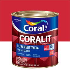 Tinta Esmalte Sintético Premium Brilhante Coralit Tradicional Vermelho 225ml - Coral