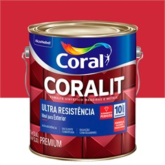 Tinta Esmalte Sintético Premium Brilhante Coralit Tradicional Vermelho 3,6 Litros - Coral