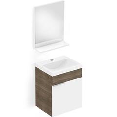Toucador E Espelheira em Mdp Like 41x34cm com 1 Porta Branco E Wengue - Celite