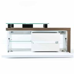 Toucador em Mdf Cristalo 120x45cm Branco E Nogueira Boreal - Mazzu