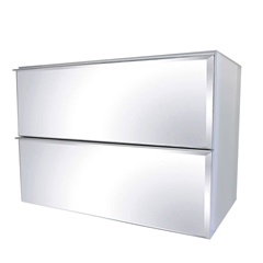 Toucador Mdf Blu 2 Gavetas Espelhadas Branco 80cm  - Bumi Móveis