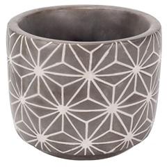 Vaso Decorativo em Cimento 10x10cm Cinza - Casanova