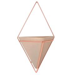 Vaso em Cerâmica Prisma Bege E Bronze - Casa Etna
