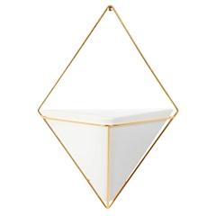Vaso em Cerâmica Prisma Branco E Dourado