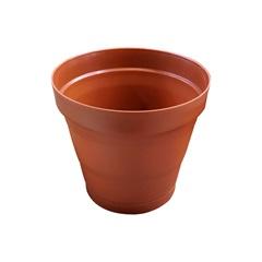 Vaso em Plástico com Prato Acoplado Porto 15x16,5 Cm Terracota - West Garden