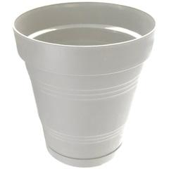 Vaso em Plástico com Prato Acoplado Porto 25x22,2 Cm Nude - West Garden