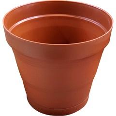 Vaso em Plástico com Prato Acoplado Porto 25x22,2 Cm Terracota - West Garden