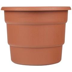 Vaso em Polipropileno Redondo Roma 21cm Cerâmica Marrom - Desli