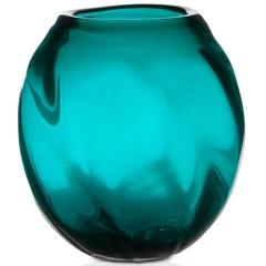 Vaso em Vidro Dalian 17cm Turquesa - Casa Etna
