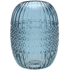 Vaso em Vidro Redondo 20x14,8cm Azul - Importado