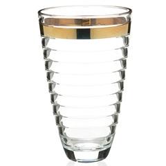 Vaso em Vidro Transparente Baguette Faixa Dourada 30cm - Casa Etna